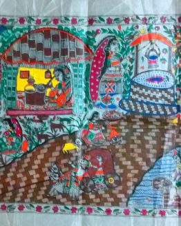 Madhubani Paintings of Village Life - Madhubani Paintings Online