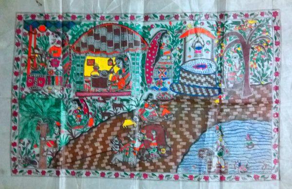 Madhubani Paintings of Village Life
