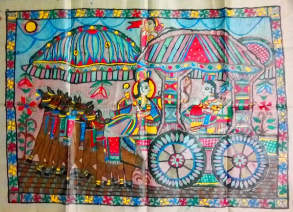 Madhubani Paintings of Krishna Arjun